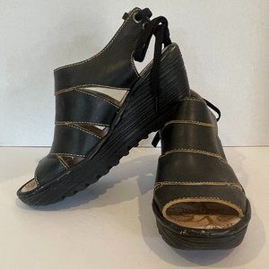 Fly London Black Leather Strappy Tie-back Sandals